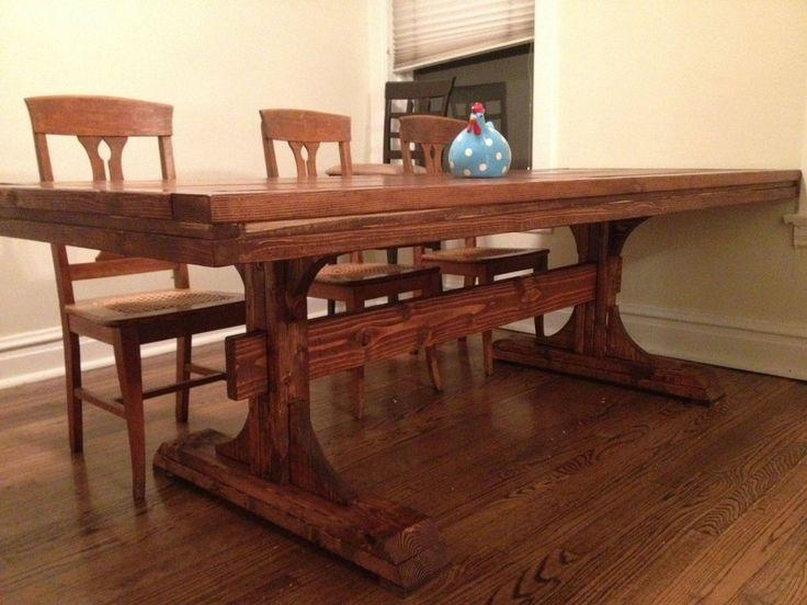 Diy double pedestal farmhouse dining room table for Table 6 1 aisc