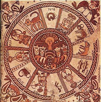 Mosaïque du Ve siècle de la synagogue de Beth Alpha représentant le zodiaque.