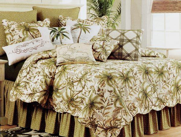 Tropical Barbados Basket Weave Print Bedskirt