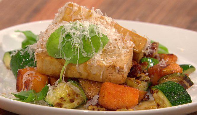 Casserole de tofu, courgettes et pacanes