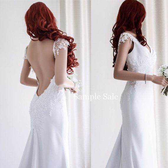 Unique wedding dress/Sample sale/Backless wedding by SilkBrides