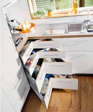 Fantastic idea for in the kitchen - or anywhere else you have a corner like this.
