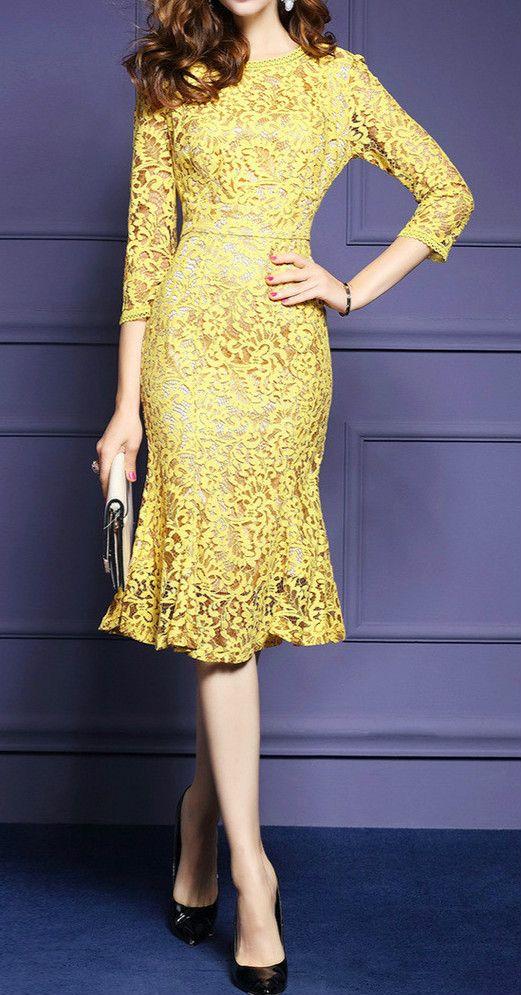 """Lace 3/4 Sleeve Bodycon Fishtail Dress """