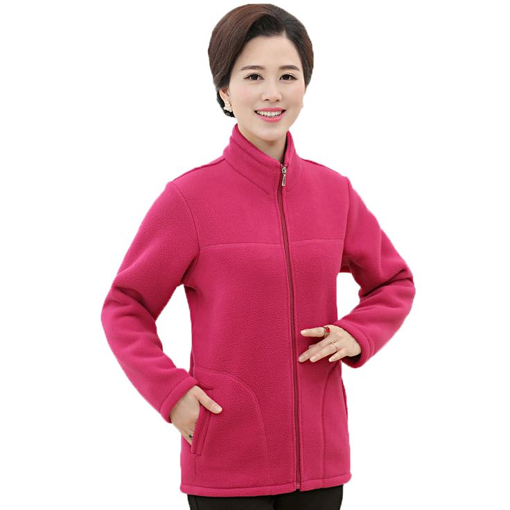 Middle Aged Woman Polar Fleece Jackets Womens Plain Multicolor Fleece Coat Stand Collar Warm Camperas Mujer Abrigo Ladies Jacket