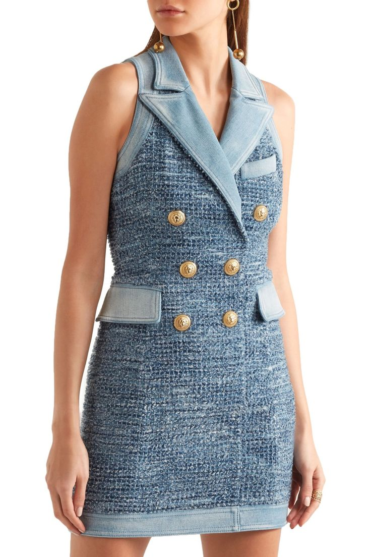 Denim-trimmed tweed mini dress | BALMAIN | Sale up to 70% off | THE OUTNET