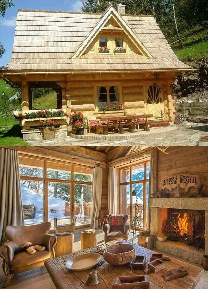 Sweet Little home   log home   patio   LOG Homes! Not just