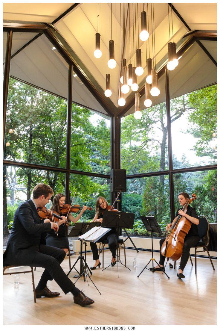 Ensemble Tryade strings quartet playing at Parc Jean-Drapeau wedding in Montreal. Photo: Esther Gibbons Photography #montreal #weddingphotography #jeandrapeau #pavilloncanada