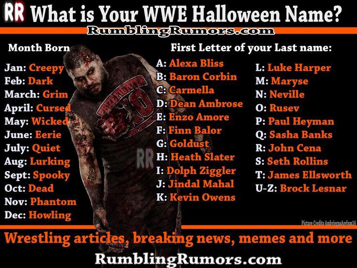 What is Your WWE Halloween Name? – RumblingRumors