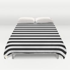 Modern Black White Stripes Monochrome Pattern Duvet Cover