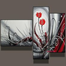 Handpainted 3 parça modern dekor yağlıboya tuval duvar sanat için kırmızı çiçek soyut resimler dekor olarak oturma odası benzersiz hediye(China (Mainland))