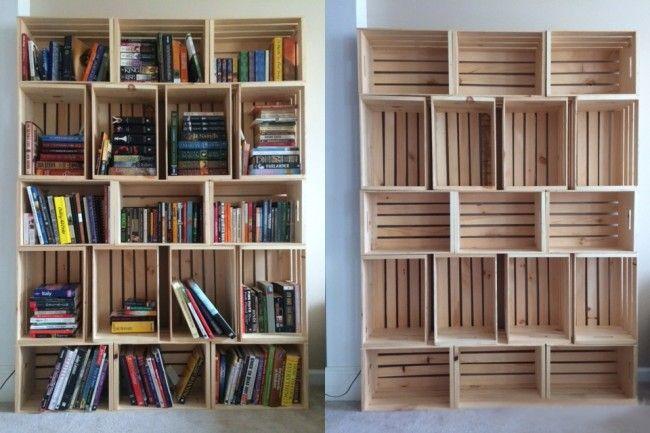 librero de cajas de madera | Tendencias y consejos de iluminación para el hogar.