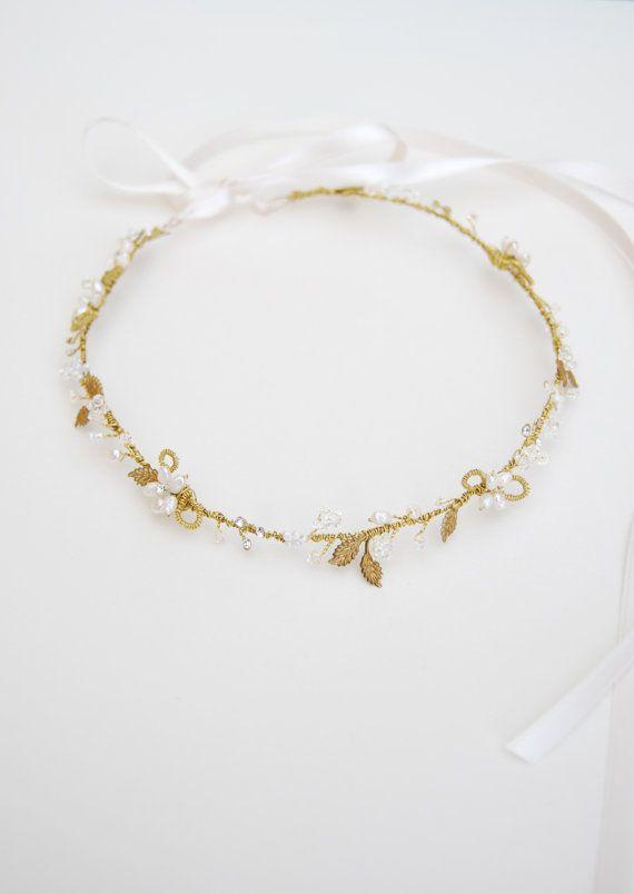 Perle Blume und Blattgold Haar reif Kopf Blumenkranz  von Elibre