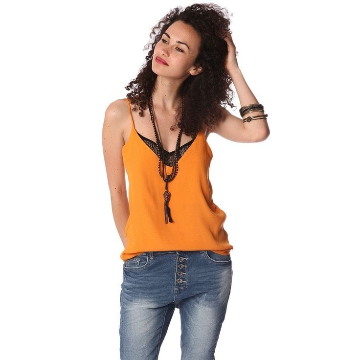 Orange cami top with V neck and contrast lace detail