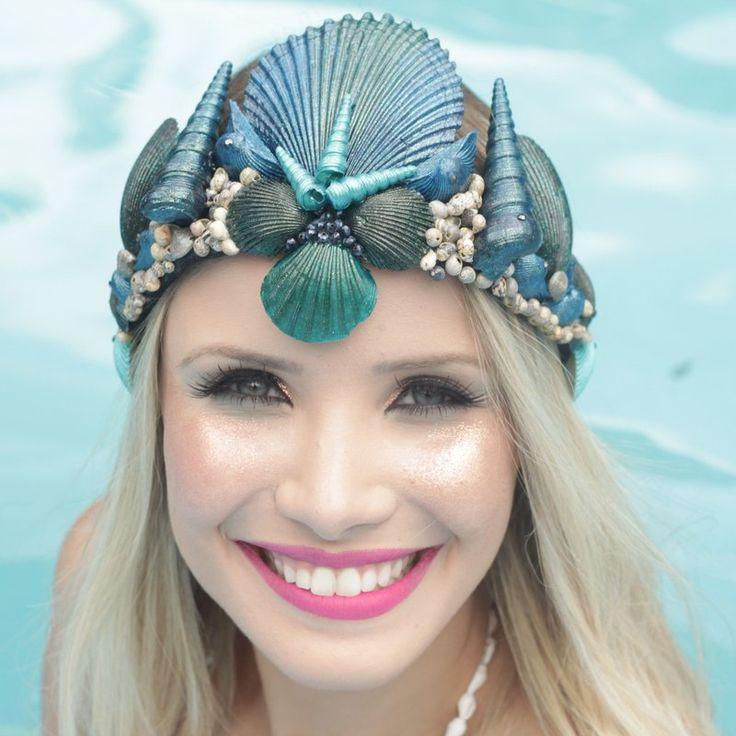 acessório de sereia, acessório de cabelo, coroa de conchas, conchas, tiara de…