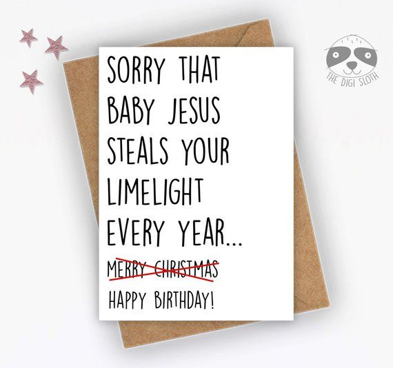 Christmas Bday Cards.Funny Birthday Card Christmas Birthday Born In December Happy
