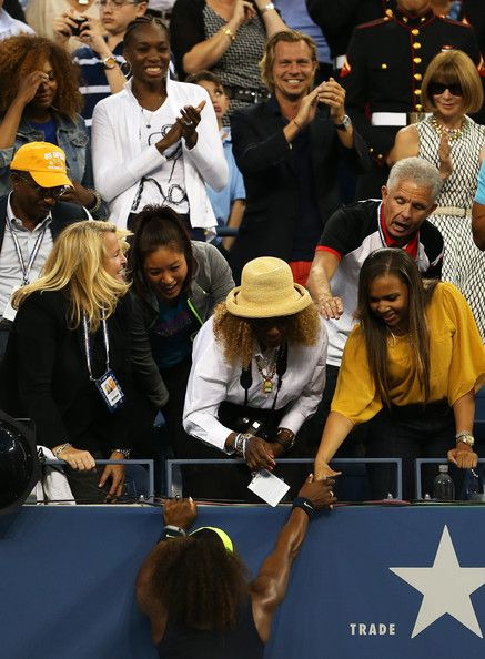 Serena Williams of the United States celebrates with her mother Oracene Price (C), Jill Smoller (L) as her sister Venus Williams and editor-in-chief of American Vogue Anna Wintour after defeating Victoria Azarenka of Belarus to win the women's singles final match on Day Fourteen of the 2012 US Open at USTA Billie Jean King National Tennis Center on September 9, 2012 in the Flushing neighborhood of the Queens borough of New York City.