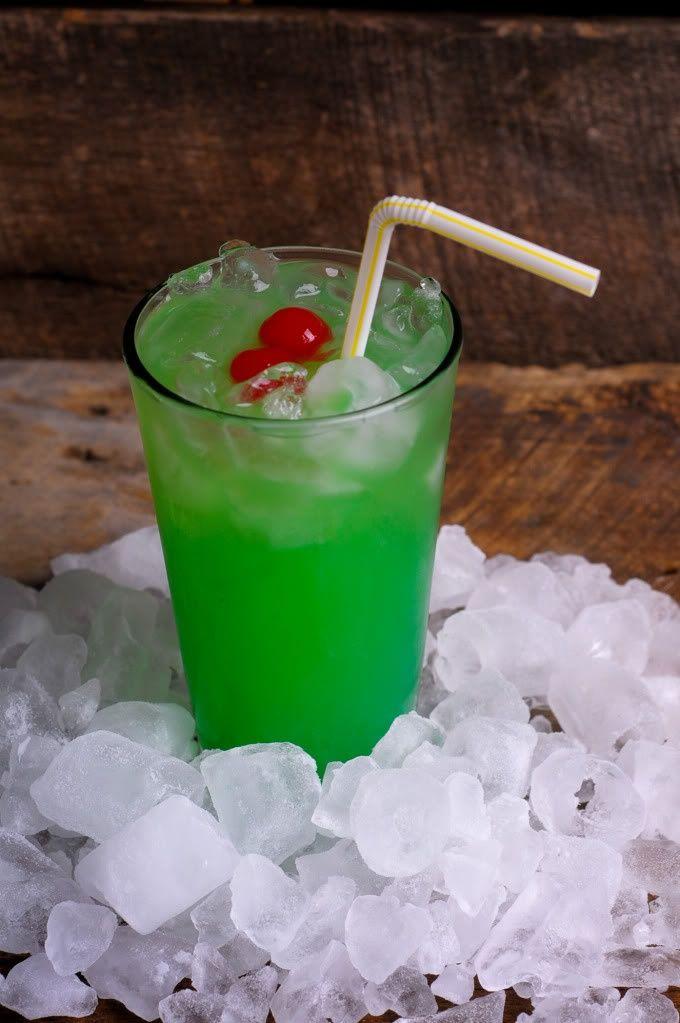 Liquid Mariguana: 1/2 ounce Malibu rum 1/2 ounce light rum 1/2 ounce blue curacao 1/2 ounce apple pucker (or melon liqueur) Equal parts sweet 'n sour mix + pineapple juice Garnish with a cherry.
