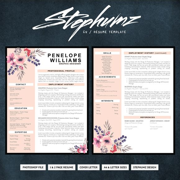 The Penelope   CV/Resume Template By Stephumz Design On @creativemarket