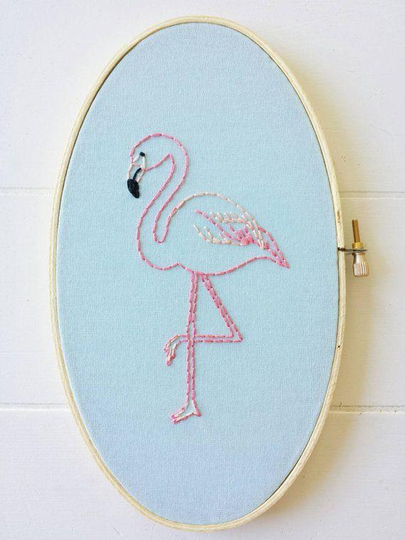 Embroidered Flamingo Embroidery Hoop Art Hand door cinderandhoney
