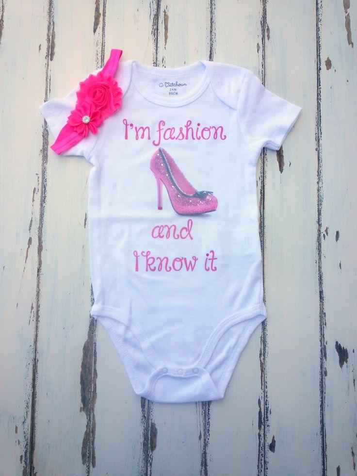 I'm Fashion And I know It Girls Bodysuit With Matching Headband, Baby Girls Bodysuit 24 months With Rhinestones, Bodysuit With High Heels by PinkAndBlueSugar on Etsy