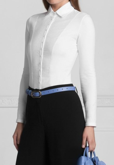 Swiss Pleated Shirtfront accented with Poplin Collar and button cuffs: Clodie | Anne Fontaine