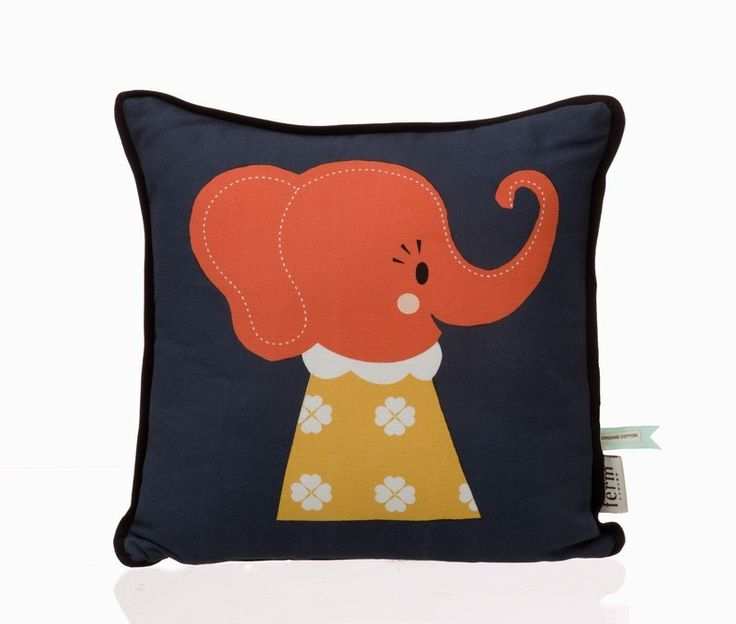 """Elle Elephant Cushion - Ferm Living - $45.00   Along with the talented Norwegian design duo Darling Clementine, we have created these adorable cushions. We call the collection of four designs for """"The Marionette Collection"""""""