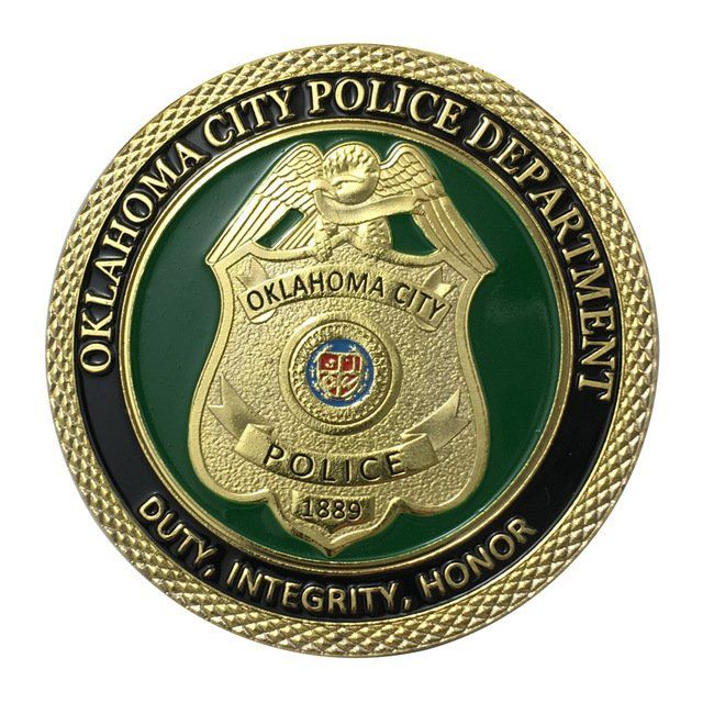 Us Military Oklahoma City Police Department Gold Plated Challenge Copy Coin For Collection Police Challenge Coins Coins Challenge Coins