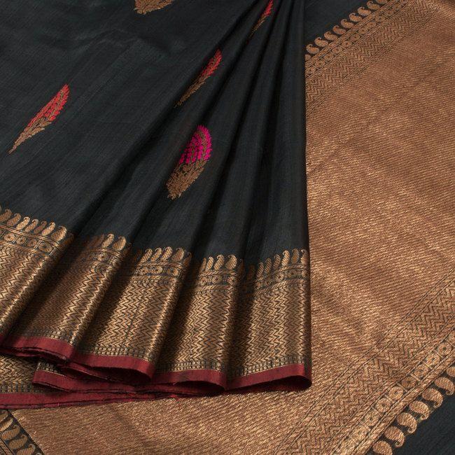 Handwoven Black Banarasi Kadhwa Tussar Silk Saree With Embroidered Makkai Motifs 10013367 - AVISHYA.COM