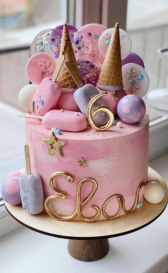 57 Beautiful Cake Inspiration 6th Birthday Cake Girl Candy Birthday Cakes 6th Birthday Cakes Baby Birthday Cakes