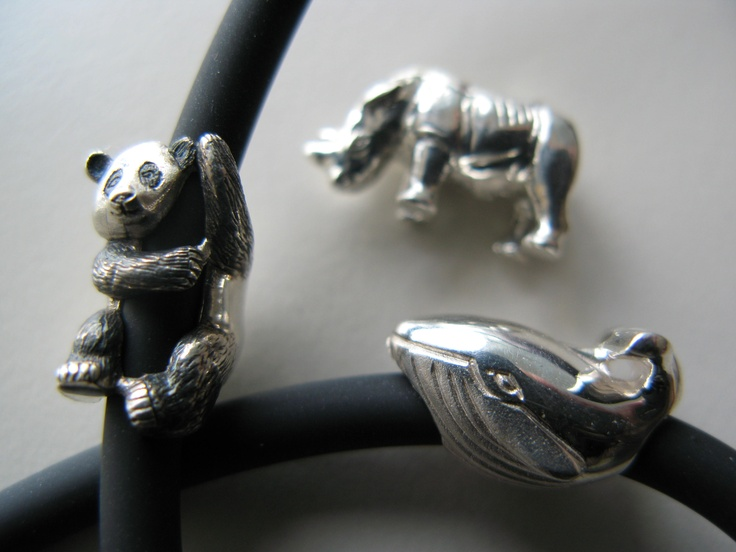 The panda, whale and rhino from Wild-Beads