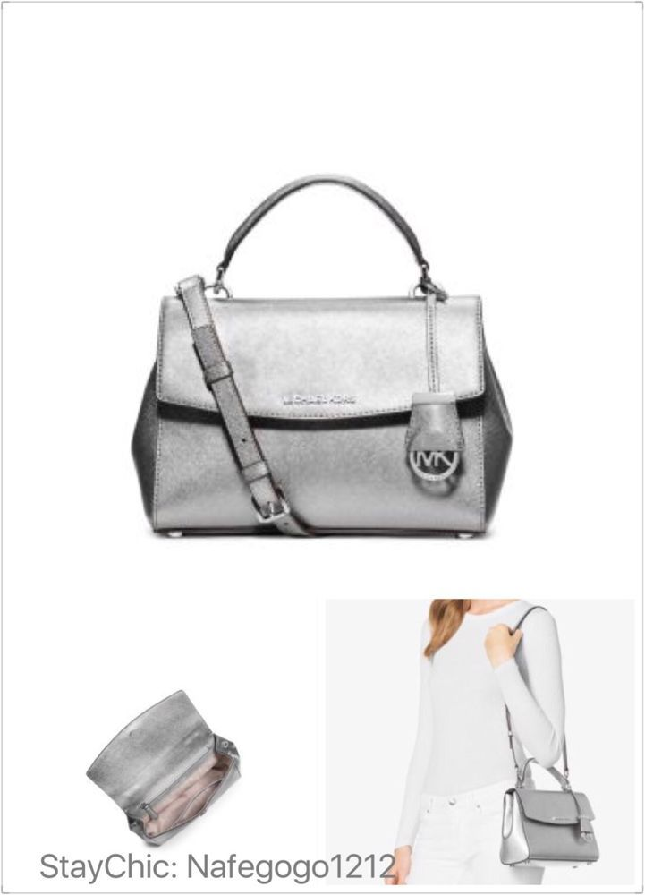mk silver clutch bag ukulelemichael kors small ava silver handbag crossbody 298 in store best seller ebay