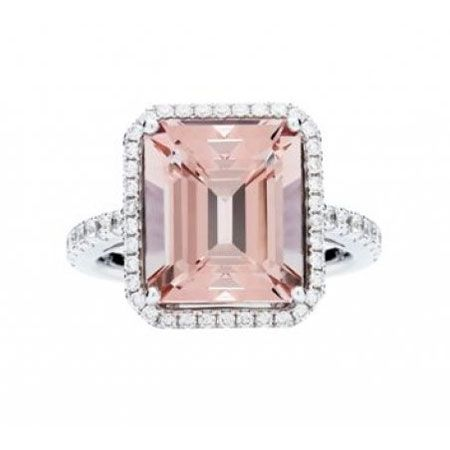 18k Pink Morganite and Diamond Rochester Ring