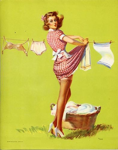 Vintage pin up girl hanging laundry