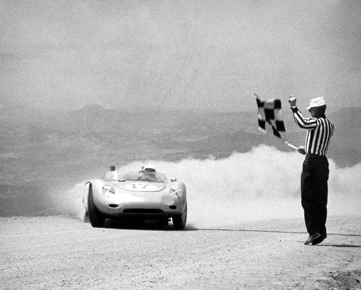 1960. Pikes Peak Hill Climb. Robert Donner Jr. wins his division (USAC Sports Car ) with a Porsche RSK.  And he wins 1.300 dollars for win!!!!!!!!  Hard investigation for discover all the data of this unique photo.