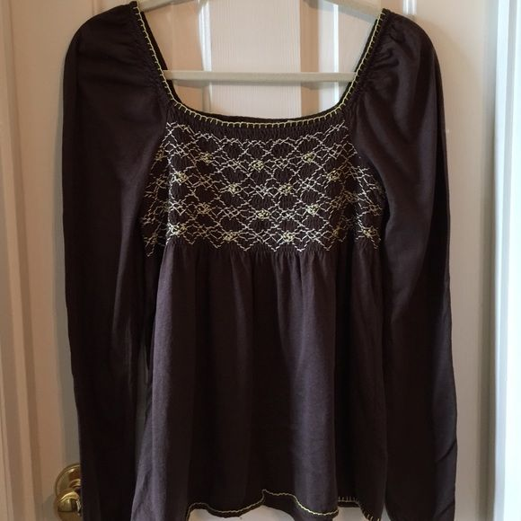 Anthropologie brown smocked top Super cute dark brown top with yellow and ivory embroidery/stitching. 100% cotton. Anthropologie Tops