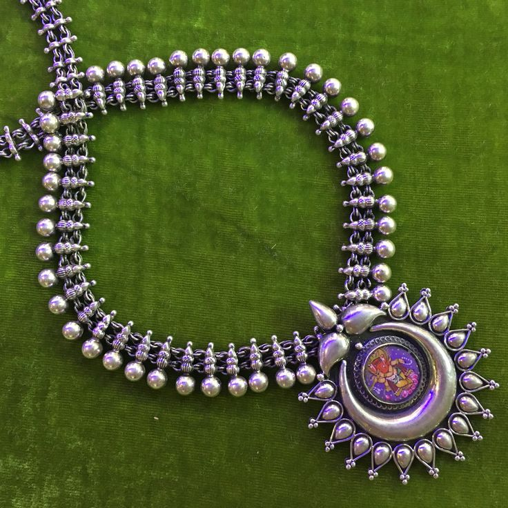 Silver Necklace with Hand Painted Pendant of Ganesha