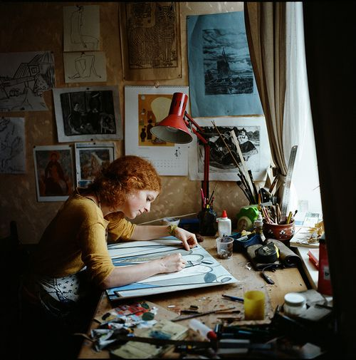This is supposed to be an example of a workspace, but I think it looks like a piece of art itself. - Emily Sutton at work