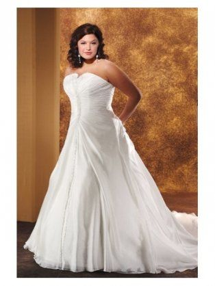 For Sale Organza Strapless A Line Princess With Rouched Bodice And Semi Cathedral Train Plus Size Wedding Dress Find Ballroom Dancing Attire Rent