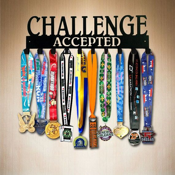 Medal Display - Challenge Accepted 10 Hook Running Medal Holder , Medal Hanger,  Medal Rack