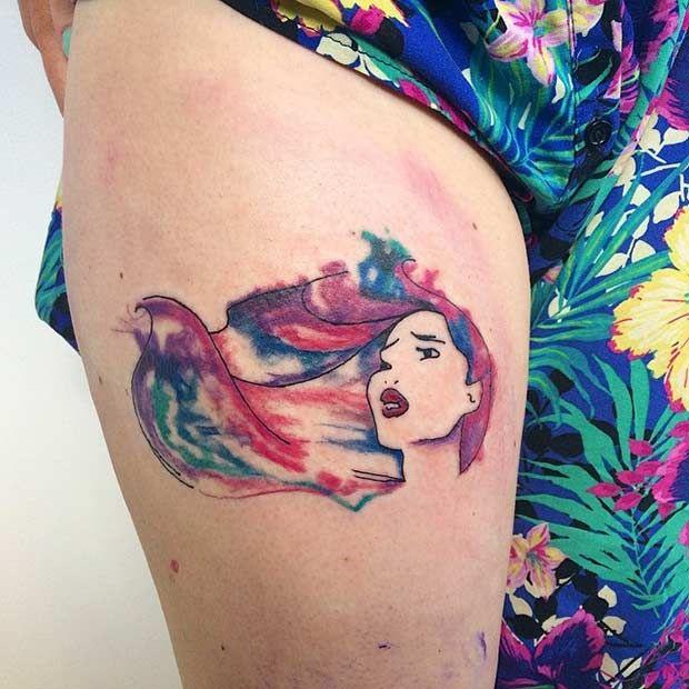 Watercolor Pocahontas Tattoo Idea