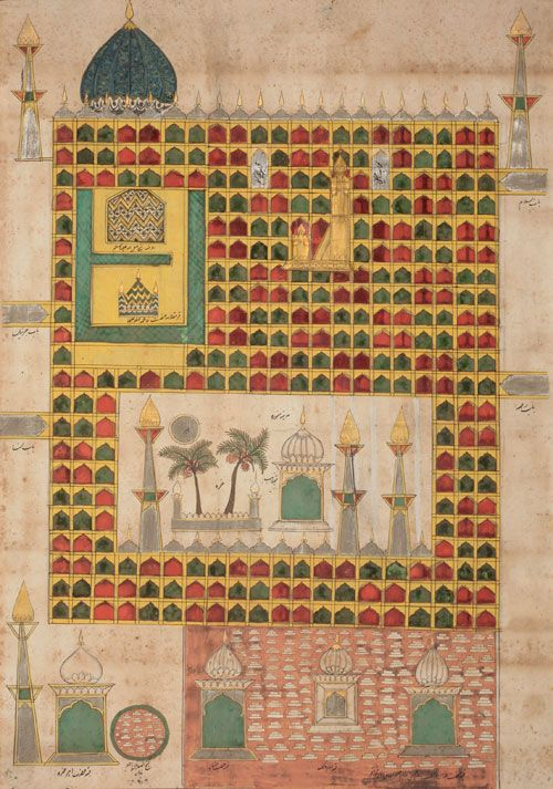View of the sanctuary at Medina, 17th or 18th century, opaque watercolour, gold, silver and ink on paper, 65 x 46.5 cm, Nasser D. Khalili Collection of Islamic Art © Nour Foundation. Courtesy of the Khalili Family Trust.