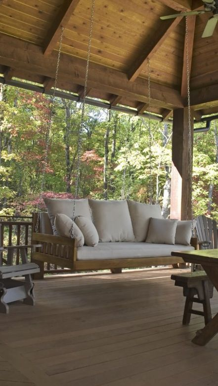 :) love the big porch, its just as important to have a nice torch as your home. its open, usable and peaceful. watch nature while you chit chat. Porch swing.