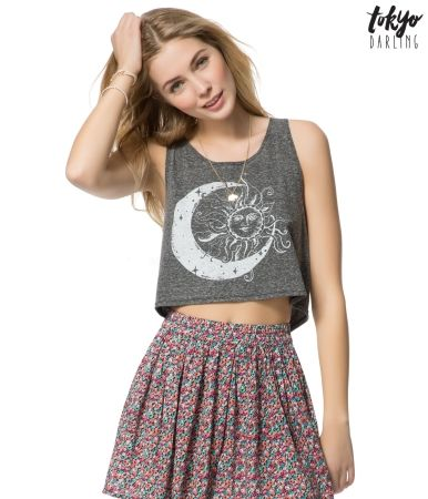 Tokyo Darling Celestial Crop Tank from Aero.  Love this with the circle skirt.
