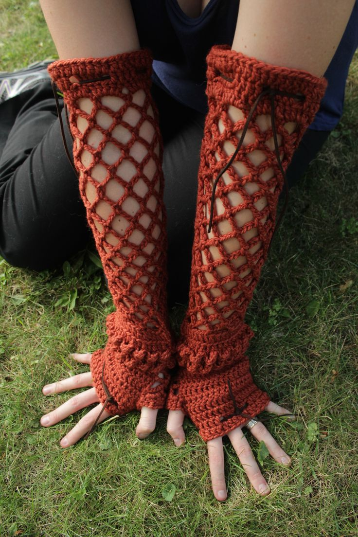 Crocheted gauntlets with leather ties :)