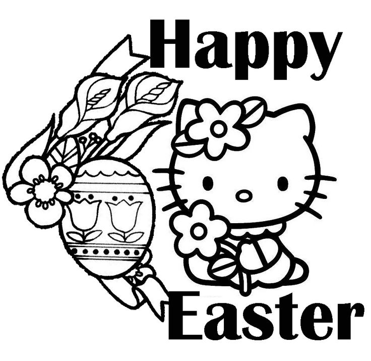 happy easter hello kitty coloring picture
