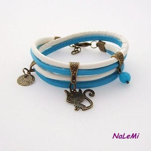 Rzemienie biało-niebieskie z kotkiem (http://srebrnaagrafka.pl/sklep/violetaccessories/produkt/rzemienie-bialo-niebieskie)