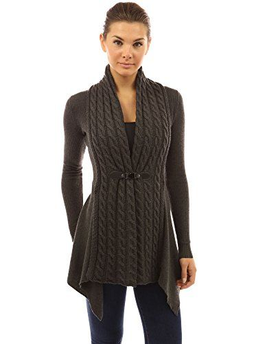 PattyBoutik Women's Buckle Braid Front Cardigan (Dark Gray S)