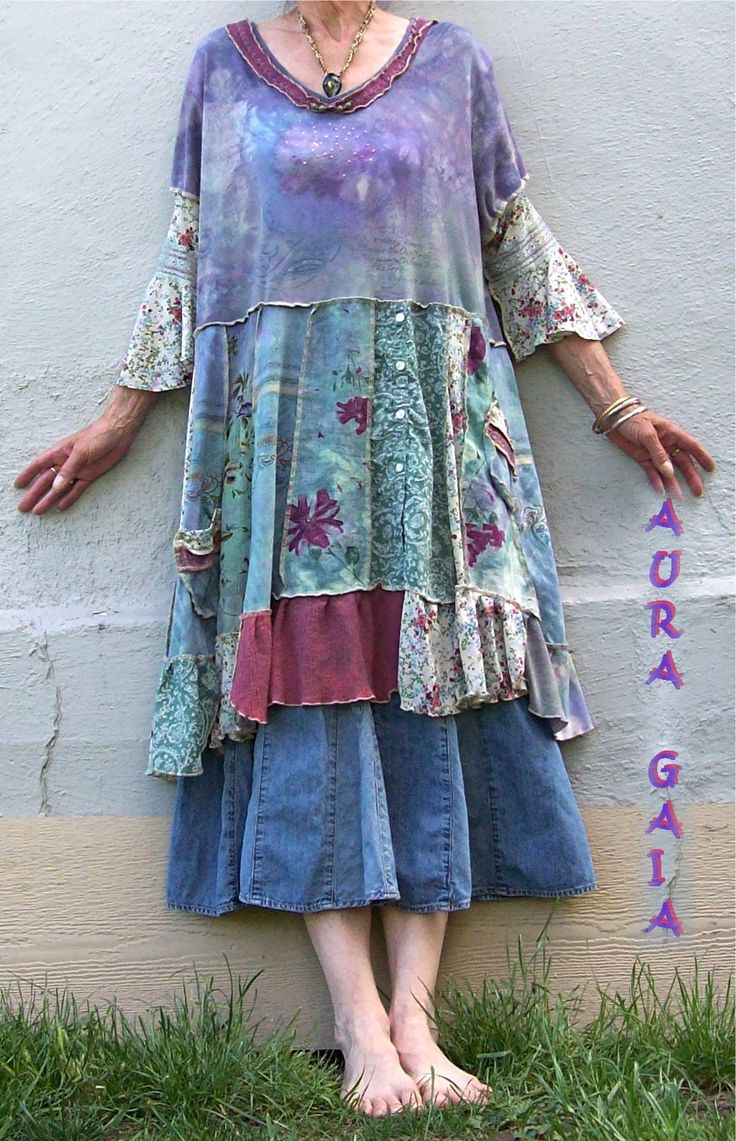 AuraGaia Misty Dream ~ Poorgirl's Patchy OverDyed Upcycled Tunic Dress XL-3X