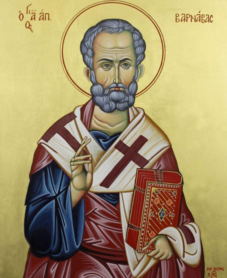 Byzantine icon of Saint Barnabas, born Joseph, was one of the earliest Christian disciples in Jerusalem.  Icon by Ikon Atelier. www.ikonatelier.com.au