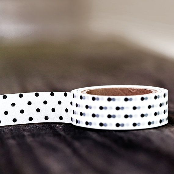 Black and White Dots   Single Roll 10 mm by leboxboutique on Etsy, $3.86